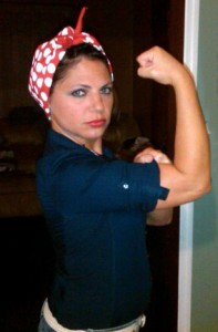 angela-ardetto-rosie-bandana-197x300 Rosie the Riveter: Seen about Town in her Red and White Polka Dot Bandana