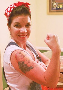 rosie-jennifer-strafford-1-210x300 Rosie the Riveter Bandana on Her Head and a Rosie on Her Arm