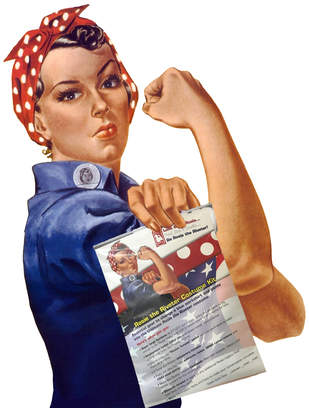 rosie the riveter with her rosie costume kit. Black Bedroom Furniture Sets. Home Design Ideas